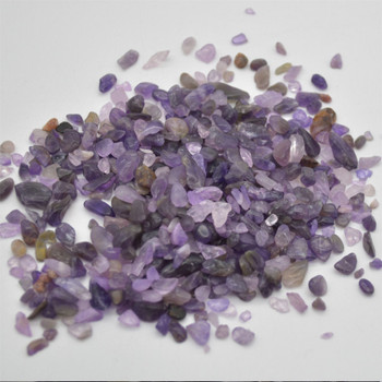 Natural Chevron Amethyst Tumblestone Chips - approx 100g - approx 3mm - 10mm
