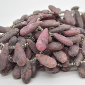 "High Quality Grade A Natural Rhodonite FROSTED MATT Semi Precious Gemstone Teardrop Pendant Beads - 25-30mm x 11mm - 15.5"" strand"