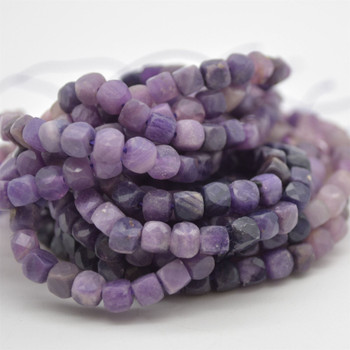 "High Quality Grade A Natural Sugilite Semi-precious Gemstone Faceted Cube Beads - 3mm - 4mm - 15.5"" strand"