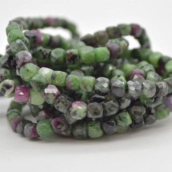 "High Quality Grade A Natural Ruby Zoisite Semi-precious Gemstone Faceted Cube Beads - 3mm - 4mm - 15.5"" strand"