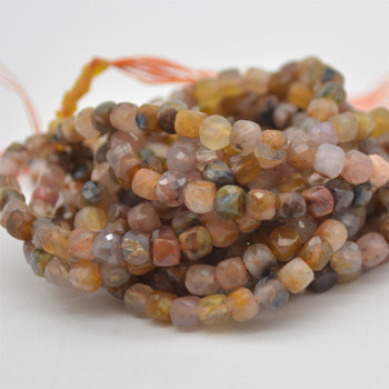 "High Quality Grade A Natural Pietersite Semi-precious Gemstone Faceted Cube Beads - 3mm - 4mm - 15.5"" strand"