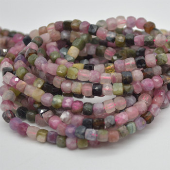 "High Quality Grade A Natural Multi Colour Tourmaline Semi-precious Gemstone Faceted Cube Beads - 3mm - 4mm - 15.5"" strand"