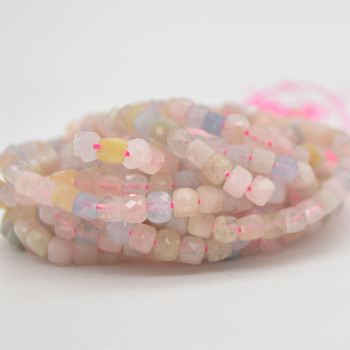 "High Quality Grade A Natural Morganite Semi-precious Gemstone Faceted Cube Beads - 3mm - 4mm - 15.5"" strand"
