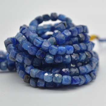 "High Quality Grade A Natural Kyanite Semi-precious Gemstone Faceted Cube Beads - 3mm - 4mm - 15.5"" strand"