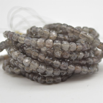 """High Quality Grade A Natural Grey Moonstone Semi-precious Gemstone Faceted Cube Beads - 3mm - 4mm - 15.5"""" strand"""