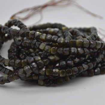 "High Quality Grade A Natural Golden Sheen Obsidian Semi-precious Gemstone Faceted Cube Beads - 3mm - 4mm - 15.5"" strand"