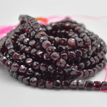 "High Quality Grade A Natural Garnet Semi-precious Gemstone Faceted Cube Beads - 3mm - 4mm - 15.5"" strand"