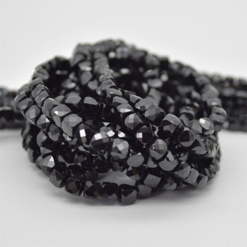 "High Quality Grade A Natural Black Tourmaline Semi-precious Gemstone Faceted Cube Beads - 3mm - 4mm - 15.5"" strand"