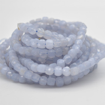 """High Quality Grade A Natural Blue Chalcedony Semi-precious Gemstone Faceted Cube Beads - 3mm - 4mm - 15.5"""" strand"""