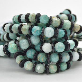 "High Quality Grade A Natural Amazonite Semi-precious Gemstone FACETED Lantern style Round Beads - 8mm - Approx 15.5"" strand"
