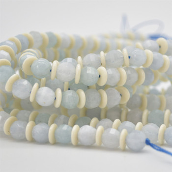 "High Quality Grade A Natural Aquamarine Semi-precious Gemstone FACETED Lantern style Round Beads - 8mm - Approx 15.5"" strand"