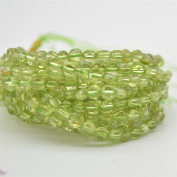 """High Quality Grade A Natural Peridot Semi-precious Gemstone FACETED Coin Disc Beads - 4mm size - 15.5"""" strand"""