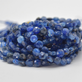 """High Quality Grade A Natural Kyanite Semi-precious Gemstone FACETED Coin Disc Beads - 4mm size - 15.5"""" strand"""