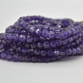 "High Quality Grade A Natural Amethyst Semi-precious Gemstone Faceted Cube Beads - 3mm - 4mm & 5 - 6mm - 15.5"" long strand"