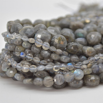 "High Quality Grade A Natural Labradorite Semi-Precious Gemstone Faceted Coin Disc Beads - 4mm, 6mm, 8mm, 10mm sizes - 15.5"" long"