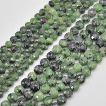"""High Quality Grade A Natural Ruby Zoisite Semi-Precious Gemstone Faceted Coin Disc Beads - 6mm, 8mm sizes - 15.5"""" long"""