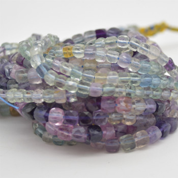 "High Quality Grade A Natural Rainbow Fluorite Semi-precious Gemstone Faceted Cube Beads - 3mm - 4mm & 5 - 6mm - 15.5"" long strand"