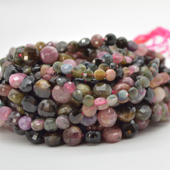 """High Quality Grade A Natural Multi-colour Tourmaline Semi-Precious Gemstone Faceted Coin Disc Beads - 4mm, 6mm, 8mm sizes - 15.5"""" long"""