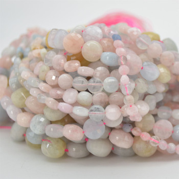 """High Quality Grade A Natural Morganite Semi-Precious Gemstone Faceted Coin Disc Beads - 4mm, 6mm, 8mm, 10mm sizes - 15.5"""" long"""