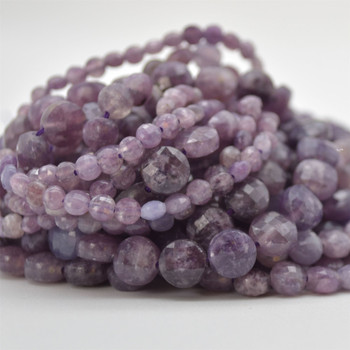 """High Quality Grade A Natural Lepidolite Semi-Precious Gemstone Faceted Coin Disc Beads - 4mm, 6mm, 8mm sizes - 15.5"""" long"""