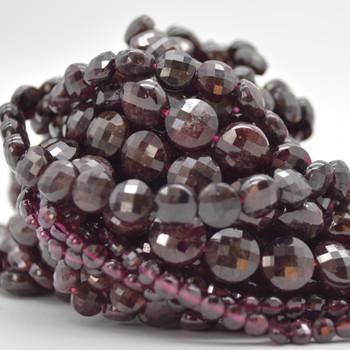 "High Quality Grade A Natural Garnet Semi-Precious Gemstone Faceted Coin Disc Beads - 4mm, 6mm, 8mm, 10mm sizes - 15.5"" long"