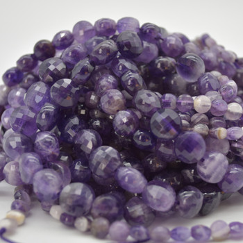 """High Quality Grade A Natural Chevron  Amethyst Semi-Precious Gemstone Faceted Coin Disc Beads - 6mm, 8mm, 10mm sizes - 15.5"""" long"""