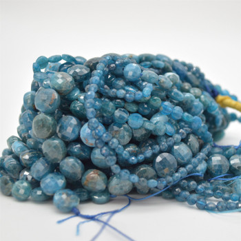 """High Quality Grade A Natural Apatite Semi-Precious Gemstone Faceted Coin Disc Beads - 4mm, 6mm, 8mm, 10mm sizes - 15.5"""" long"""