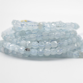 "High Quality Grade A Natural Aquamarine Semi-precious Gemstone Faceted Cube Beads - 3mm - 4mm & 5 - 6mm - 15.5"" long strand"