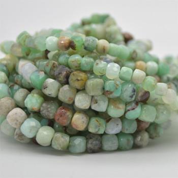 "High Quality Grade A Natural Australian Chrysoprase Semi-precious Gemstone Faceted Cube Beads - 3mm - 4mm & 5 - 6mm - 15.5"" long strand"