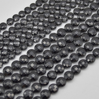 "High Quality Grade A Natural Black Tourmaline Semi-Precious Gemstone Faceted Coin Disc Beads - 6mm, 8mm sizes - 15.5"" long"