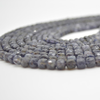 """High Quality Grade A Natural Iolite Semi-precious Gemstone Faceted Cube Beads - 3mm - 4mm & 5 - 6mm - 15.5"""" long strand"""