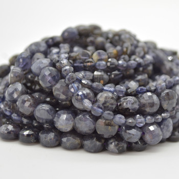 """High Quality Grade A Natural Iolite Semi-Precious Gemstone Faceted Coin Disc Beads - 4mm, 6mm, 8mm sizes - 15.5"""" long"""