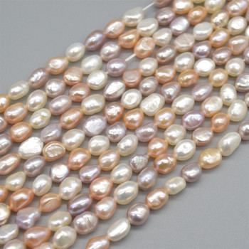 """High Quality Grade A Natural Freshwater Baroque Nugget Pearl Beads - Mixed Pink White Purple - approx 6mm - 7mm - approx 14"""" strand"""