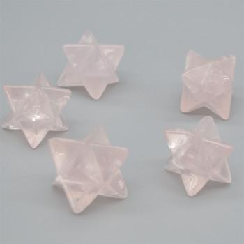 High Quality Natural Rose Quartz Semi-precious Gemstone Merkaba carved Star- 1 Count - approx  3.2cm - 20 - 30 grams