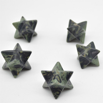 High Quality Natural Kambaba Jasper Semi-precious Gemstone Merkaba carved Star- 1 Count - approx 3.2cm - 20 - 30 grams