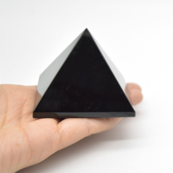 Natural Black Obsidian Semi-precious Gemstone Pyramid - 1 Count - approx 6cm x 5.5cm