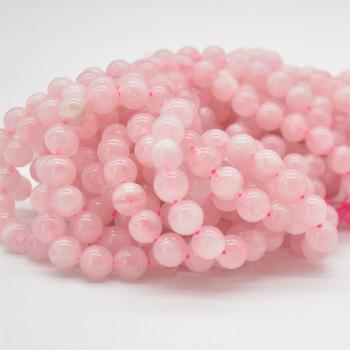 """High Quality Grade A Natural Madagascar Rose Quartz Semi-Precious Gemstone Round Beads - 4mm, 6mm, 8mm, 10mm sizes - 15.5"""" long"""
