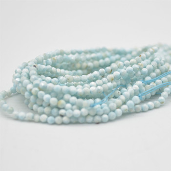"""High Quality Grade A Natural Larimar Semi-Precious Gemstone - FACETED - Round Beads - approx 1.5mm - 2mm - 15.5"""" strand"""