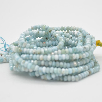"""High Quality Grade A Natural Larimar Semi-precious Gemstone FACETED Rondelle Spacer Beads - 3mm x 2mm - 15.5"""" strand"""