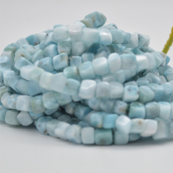 "High Quality Grade A Natural Larimar Semi-precious Gemstone Faceted Cube Beads - 5mm - 6mm - 15.5"" strand"