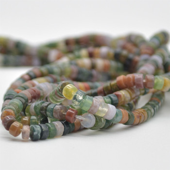 """High Quality Grade A Natural Indian Agate Semi-Precious Gemstone Flat Heishi Rondelle / Disc Beads - approx 4mm x 2mm - 15.5"""" strand"""