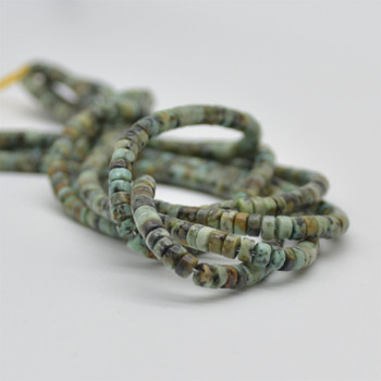 """High Quality Grade A Natural African Turquoise Semi-Precious Gemstone Flat Heishi Rondelle / Disc Beads - approx 4mm x 2mm - 15.5"""" strand"""