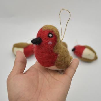 Felt Christmas Robin Figure - 3 Count - approx 9.5cm - 10cm x 4cm - 5cm