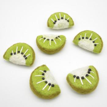 Felt Kiwi Slice - 5 Count - approx 4.5cm - 5cm x  4cm x 2cm