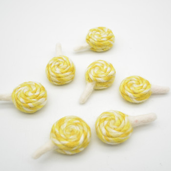 Felt Swirl Lollipops - 4 Count - approx 6.5cm - 7cm x 4cm x 2.5cm - Yellow