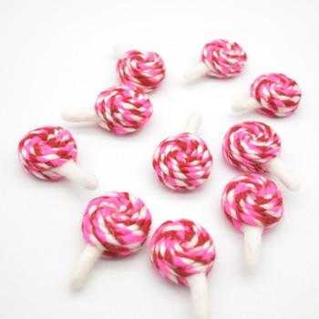 Felt Swirl Lollipops - 4 Count - approx 6.5cm - 7cm x 4cm x 2.5cm - Pink