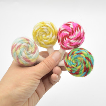 Felt Swirl Lollipops - 4 Assorted Lollipops - approx 6.5cm - 7cm x 4cm x 2.5cm