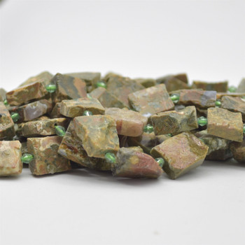 "Raw Natural Rhyolite Rectangle Semi-precious Gemstone Beads - 18mm x 13mm - approx 15.5"" strand"