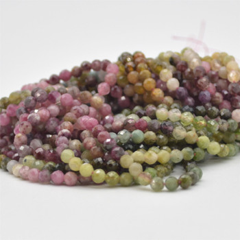 """High Quality Grade A Natural Multi-colour Tourmaline Semi-Precious Gemstone FACETED Round Beads - approx 4mm - 15.5"""" strand"""