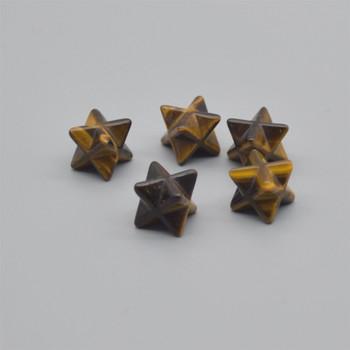 High Quality Natural Tiger Eye Semi-precious Gemstone Small Merkaba carved Star - 1 Count -  12mm x 12mm x 12mm
